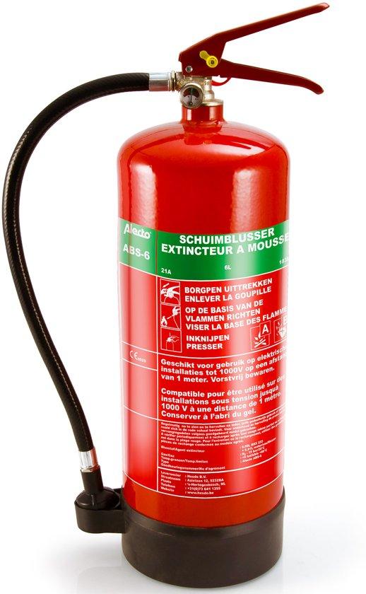 Alecto ABS-6 Schuim Brandblusser A,B 6 Liter | Geschikt en gecertificeerd voor NL en BE | Incl. Ophangbeugel en Drukmeter | Rood