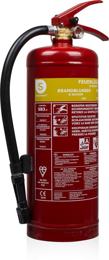 Smartwares FEX-15230 Brandblusser – Schuim – 3 kg – Brandklasse AB – Inclusief ophangbeugel