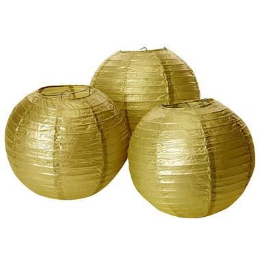 Lampionnen - goud 20 cm (3 stuks)