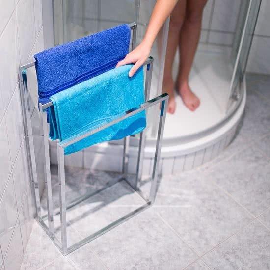 relaxdays handdoekenrek rvs, 3 stangen, vrijstaand, handdoekenhouder handdoekrek