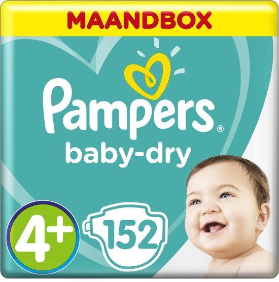 Pampers Baby-Dry - Maat 4+ (Maxi+) 10-15 kg - Maandbox 152 Stuks - Luiers