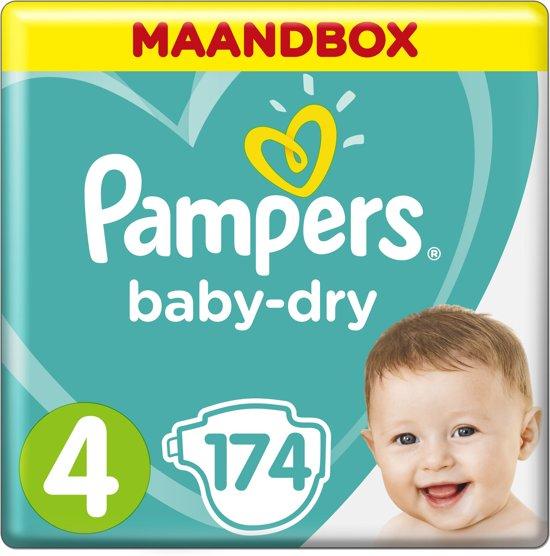 Pampers Baby-Dry - Maat 4 (Maxi) 9-14 kg - Maandbox 174 Stuks - Luiers