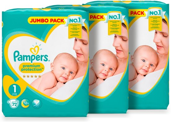 Pampers Premium Protection - Maat 1 (New Born) 2-5 kg - Jumbo Box 3x72 luiers