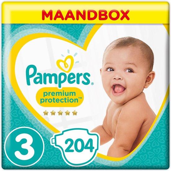 Pampers Premium Protection - Maat 3 (Midi) 6-10 kg - Maandbox 204 Stuks - Luiers