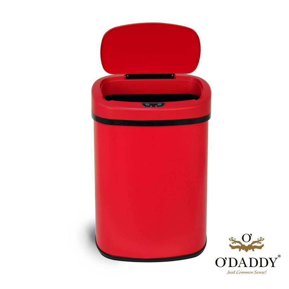 O'daddy prullenbak met sensor ovaal rvs rood deluxe 60l