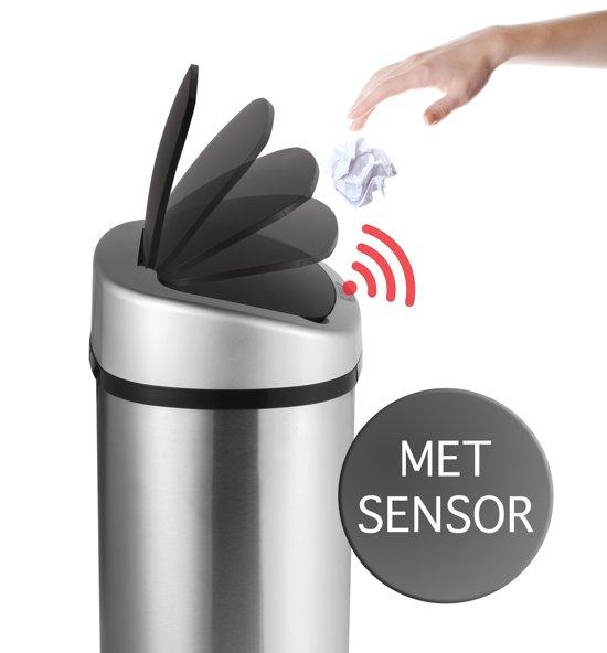 RVS Prullenbak Met Infrarood Sensor - Vuilniszakken Afvalemmer - Trash Can Bin - 58 Liter