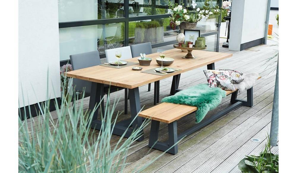Tuinbank Ovada | 220 cm | Mat royaal grijs De tuinbank heeft een