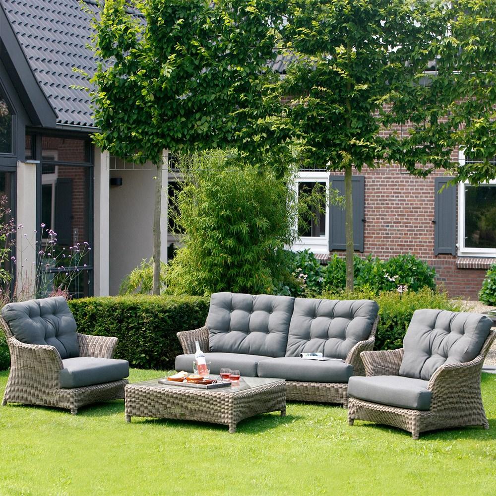Valentine Rattan Garden Lounge Set In Pure By 4 Seasons Outdoor