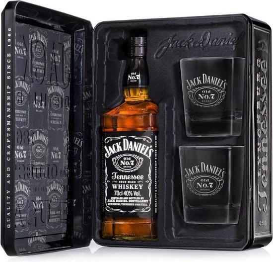 Jack Daniels Black Label - Old No 7 - 70cl - Cadeau set met 2 glazen in metalen doos