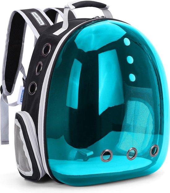 Nobleza Rugzak voor huisdieren - Draagtas voor katten en kleine honden - Transport tas - Dieren draagtas - B31 x L26 x H40 cm - Transparant/Blauw