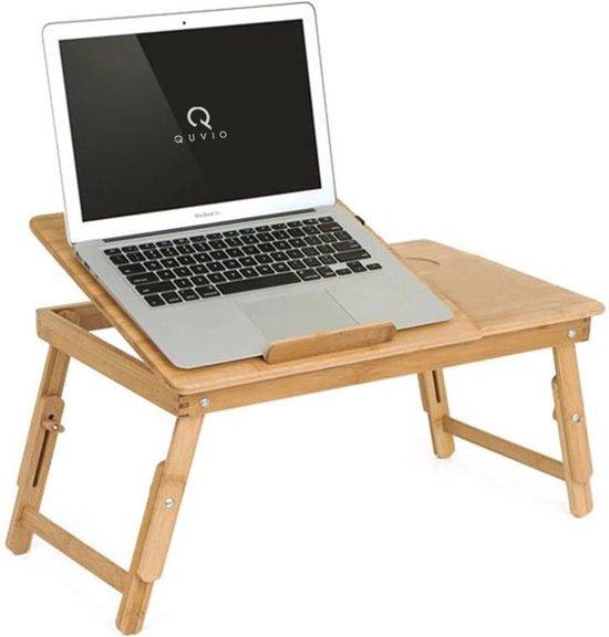 QUVIO Bedtafel - Bamboe - Verstelbaar - Inklapbaar