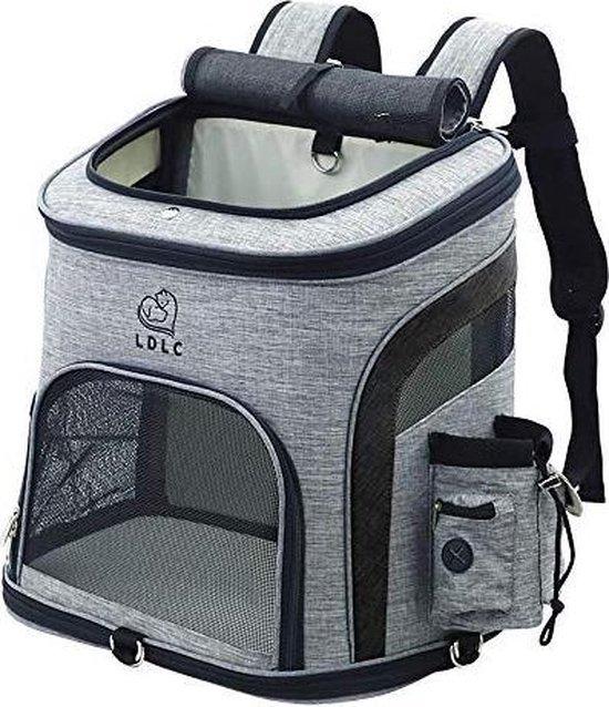 Rexa® Hondentas (L) Zwart/Grijs Reis tas rugzak voor honden en katten | huisdier kat vervoer | kattentas hondendraagtas transport meenemen vakantie | hondendrager reistas | carrier