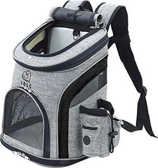Rexa® Hondentas (M) Zwart/Grijs Reis tas rugzak voor honden en katten | huisdier kat vervoer | kattentas hondendraagtas transport meenemen vakantie | hondendrager reistas | carrier