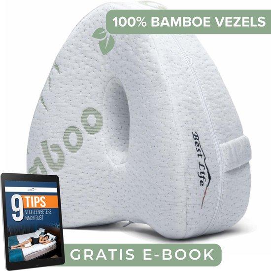 Orthopedisch Kniekussen Voor in Bed – Zijslaapkussen – Beenkussen – Slaapkussen Tussen Benen – BAMBOE Kussen – Incl. E-BOOK