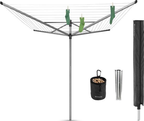 Brabantia Lift-O-Matic Advance Droogmolen met Grondanker, Beschermhoes en Wasknijpertasje - 60 m - Metallic Grey