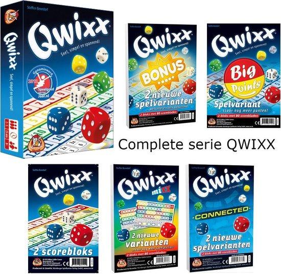 QWIXX Dobbelspel Familie COMPLEET: QWIXX met alle extra Scoreblokken: MIX, BONUS, CONNECTED, BIG POINTS en Extra Scoreblokken