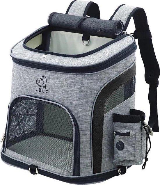 LDLC Hondentas grijs/zwart (L) - Hondenrugzak - Draagtas hond - Hondentas voor kleine honden - Honden reistas - Kattentas - Draagtas kat - Reismand - Transportbox
