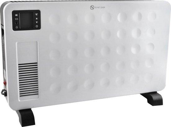Luxe Staande Convector Kachel - Digitale Elektrische Radiator Heater Met Instelbare Thermostaat & Timer - Inc. Afstandsbediening - Met Turbo Ventilator - 2300W - Wit