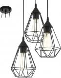 EGLO Vintage Tarbes – Hanglamp – Draadlamp – 3 Lichts – 3xØ17cm. – Zwart