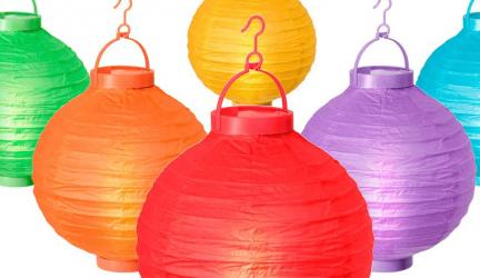 Grote en gekleurde papieren lampionnen voor extra feest gevoel
