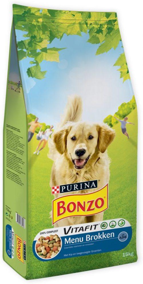 Bonzo VitaFit Menubrokken Adult - Kip & Groenten - Hondenvoer - 15 kg