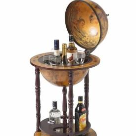 Brulo – Wereldbol – Globebar – Hout – Bruin – vespucci – 33 cm diameter Aanbieding