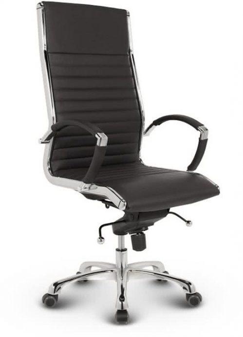 Bureaustoel Lincoln Relax Design - Hoge Rugleuning - 100% Echt Leder - Zwart