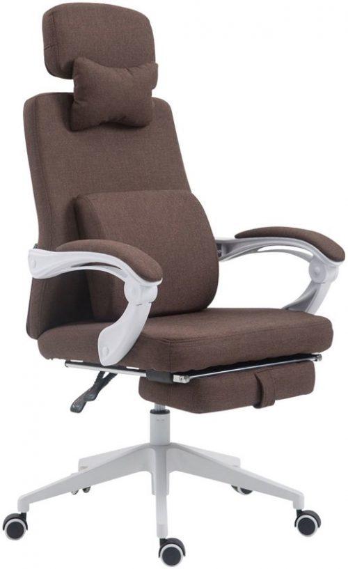 Clp Bureaustoel BYRON, directiestoel, managerstoel, kantoorstoel, met verstelbare voetensteun, rugleuning en hoofdsteun, ergonomische bureaustoel, met bekleding van stof - bruin,