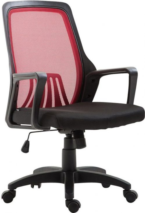 Clp Bureaustoel CLEVER, ergonomische executive chair, mangers stoel, directiestoel, vergaderstoel, in hoogte verstelbare draaistoel met kantelfunctie, mesh bekleding - zwart/rood,