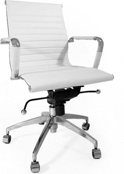 Design bureaustoel premium runder leer - RVS Metaal