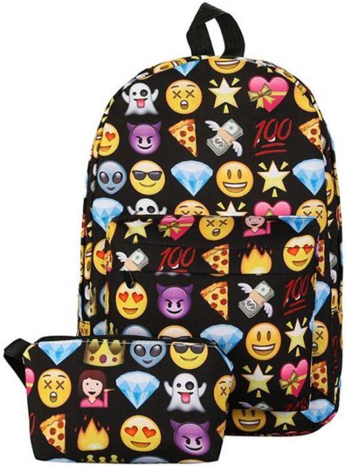 Emoji rugzak zwart/ Met de leukste emoji smileys/perfect voor school