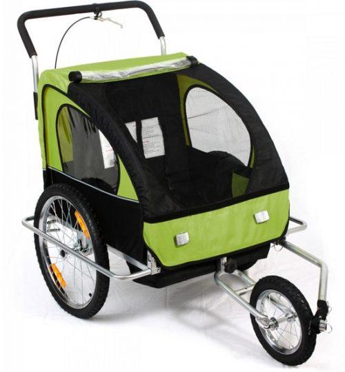 Geveerde fietskar met buggy functie Groen / Zwart