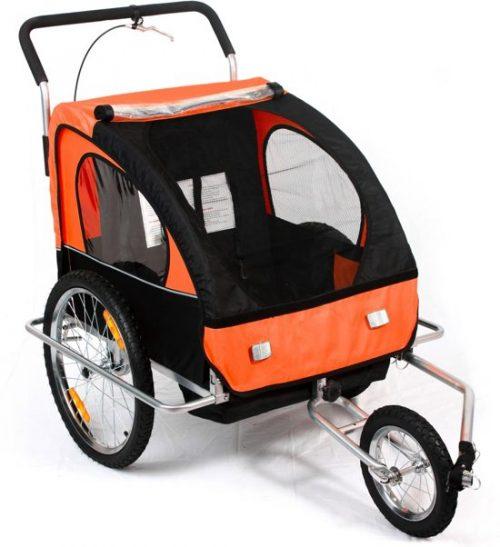 Geveerde fietskar met buggy functie Oranje / Zwart