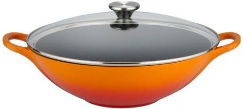 Gietijzeren wok in Oranje-rood 3,8l 32cm