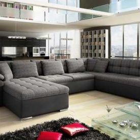 HH Furniture Hoekbank / Hoeksalon Grenada – Zwart/Antraciet – Stof – PU leer Aanbieding