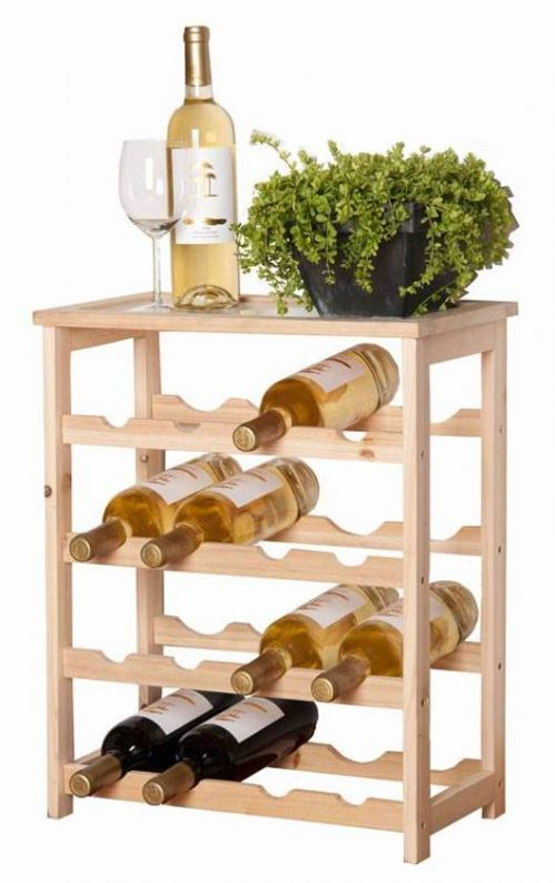 Houten wijnrek (voor 16 flessen)