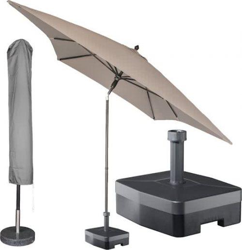 Kopu - Rechthoekige parasol met voet en bijpassende hoes - 300 x 200 cm - Taupe