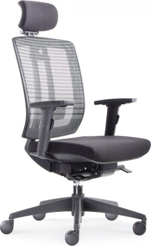 Model BenS 816H. Luxe ergonomische bureaustoel met hoofdsteun.