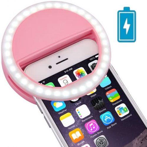 Oplaadbare Selfie Ring Light Case: Roze - Lumee Style: Perfecte Selfies in het Donker