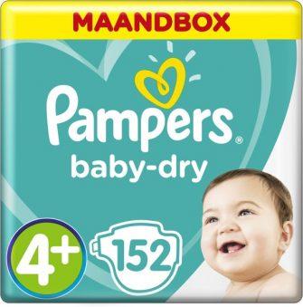 Pampers Baby-Dry - Maat 4+ (Maxi+) 10-15 kg - Maandbox 152 Stuks...