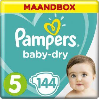 Pampers Baby-Dry - Maat 5 (Junior) 11-16 kg - Maandbox 144 Stuks...