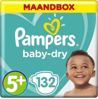Pampers Baby-Dry - Maat 5+ (Junior+) 12-17 kg - Maandbox 132 Stuks...
