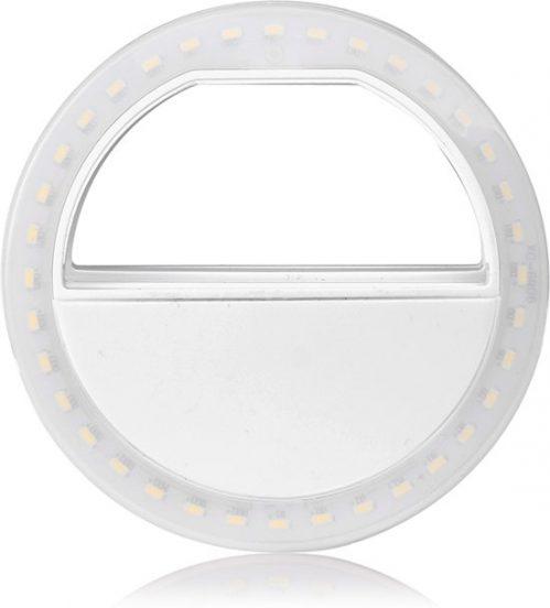 Selfie Ring Light Clip Pro - wit - werkt met AA batterijen - voor mooie selfies