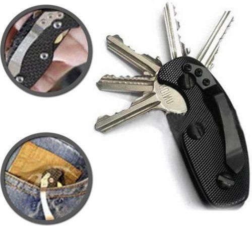 Sleutelbos | Keyboss | Sleutel | Key organizer | Stijlvolle sleutelbos | Sleutelhouder | Sleutelhanger | Aluminium | Zwart