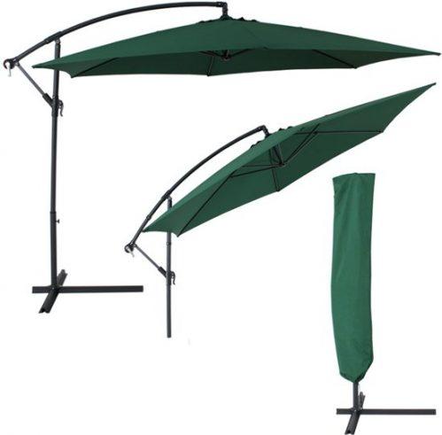 TecTake Parasol - zweefparasol - Ø350 cm - groen - UV bescherming