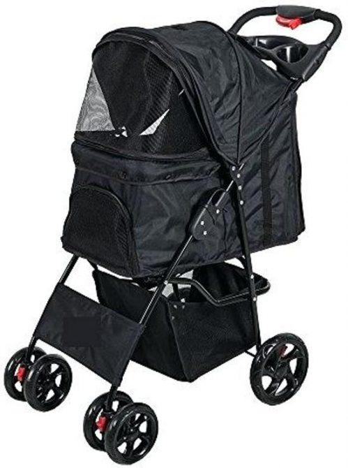 Topmast Hondenbuggy wandelwagen honden buggie Zwart - 4 Wielen