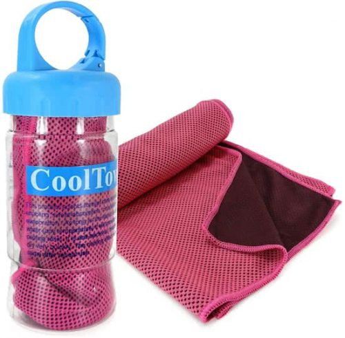 Tuff-luv - Microfibre Sport Cooling down handdoek - UPF 50 & Sports Bottle Container - roze