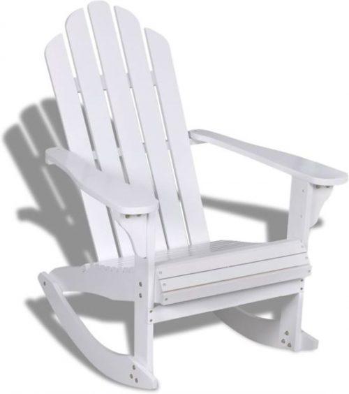 vidaXL - Schommelstoel Houten schommelstoel wit