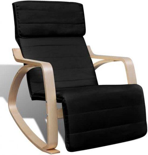 vidaXL Verstelbare schommelstoel met leuning (zwart)
