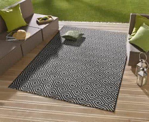Vloerkleed - In&outdoor - bougari Karo - Zwart - 80x150cm geweven